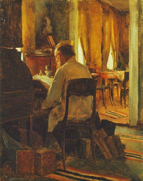 """""""Carl Gustaf Swan at his Work Table"""" (1889) by Erik """"Eero"""" Nikolai Järnefelt (1863-1937) - """"Maisteri Carl Gustaf Swan työpöytänsä ääressä"""""""