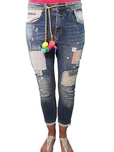 Wiya Italy Blogger Boyfriend Hippie avec pièces Patchs Jeans - Denim Medium    Jeans femme   Pinterest   Jeans, Denim jeans and Denim a63257e0b6fd