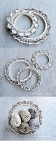 3 Crochet Borders Around Embroidery hoops. Can be used as haning wall decorations and even photo-frames. FREE crochet pattern by Lilla Bjorn Crochet