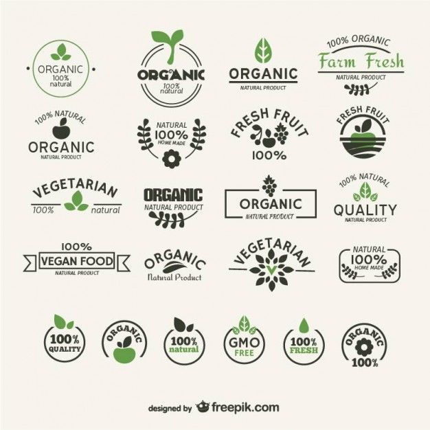 La nourriture organique et naturel labels collection Vecteur gratuit