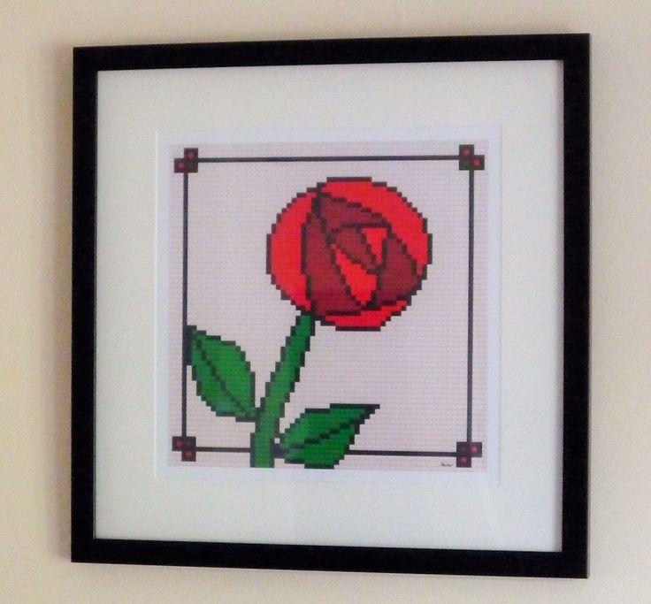 "Rose print of original Lego® mosaic (12"" square) by OxfordBrickArt on Etsy"