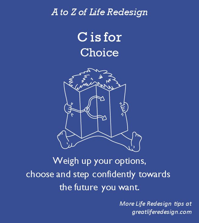 The ultimate fear fighter and liberator. You have far more choice than you realise!  Weigh up your options, choose carefully, step outside your comfort zone and take calm, confident action http://greatliferedesign.com/the-book/