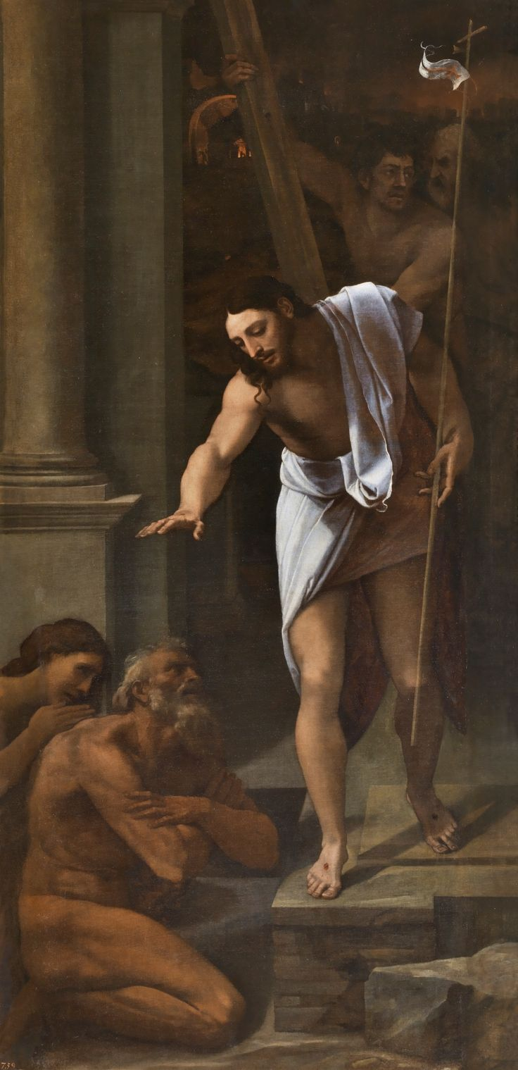 Christ's Descent into Limbo / Bajada de Cristo al Limbo // 1516 // Sebastiano del Piombo // Wearing a white tunic and bearing the standard of victory, Christ leans toward Adam and Eve who, nude, hope to be rescued from Limbo and taken to the Kingdom of Heaven. // #Jesus