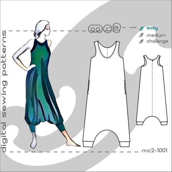 Racerback Jumpsuit (sizes: uk 10-20/usa 6-16) Harem-style/ Maternity suitable/ digital sewing pdf pattern for women>mc2-patterns< mc2-1001