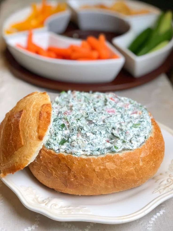 Easy cold spinach dip with cream cheese in bread bowl