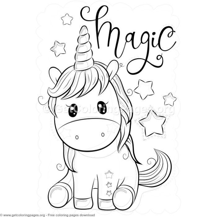 Magic Unicorn Coloring Pages Free