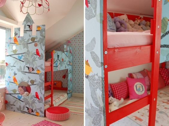 Do you remember Olivia and Emma's warm, eclectic, shared bedroom? Well, these girls are growing up and were ready to move out of their toddler bed and crib. Their mom Jeannette loves to put her personal stamp on her home and their new fabric-covered castle bed is her latest masterpiece.