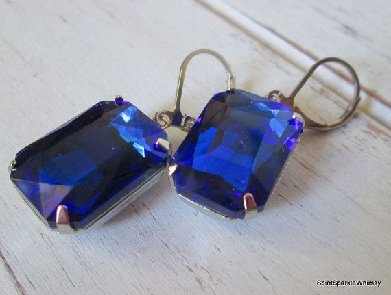 Blue Earring Sapphire Earring Blue by SpiritSparkleWhimsy on Etsy
