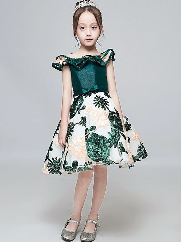 8c76cb8890c39 Embroidery Stitching Lotus Leaf Collar Sleeveless A-Line Dress ...