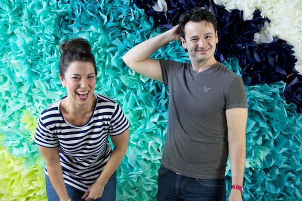 DIY Ombre Tissue Paper Photobooth Backdrop   Lovely Indeed - A great idea for adding colour to place where you can't paint.