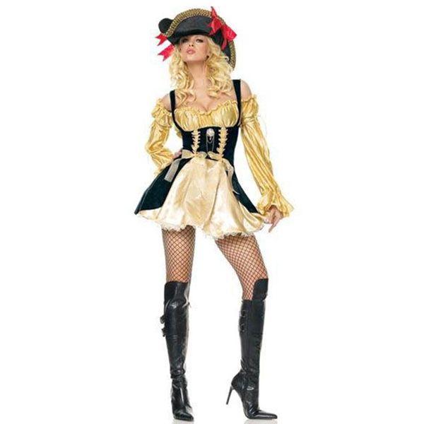 Barato Dourados mangas compridas babados vestido de pirata traje das mulheres de Halloween fantasia fantasia de carnaval vestido de vestir se, Compro Qualidade Fantasias Femininas diretamente de fornecedores da China: Pirate Body Shaper Adult Costume Halloween Fantasia Fancy party dressUS $ 32.87/setCruel Seas Captain Pirate Costume Adu