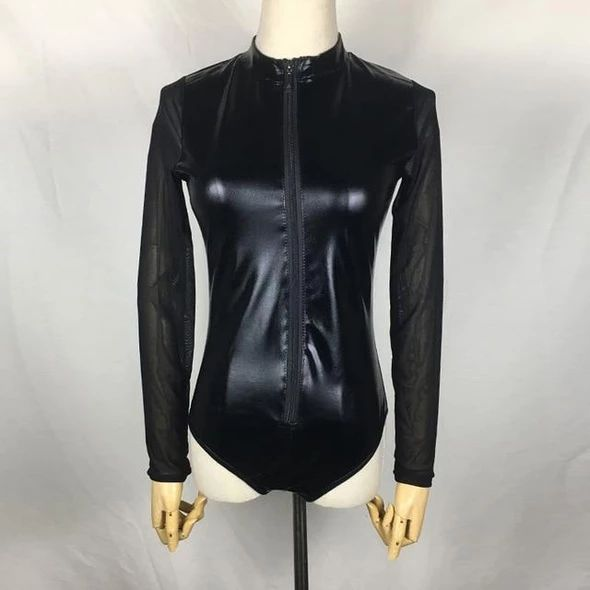 2018 Female sexy pvc mesh bodysuits oversized combinaison romper long sleeve perspectiverricdress