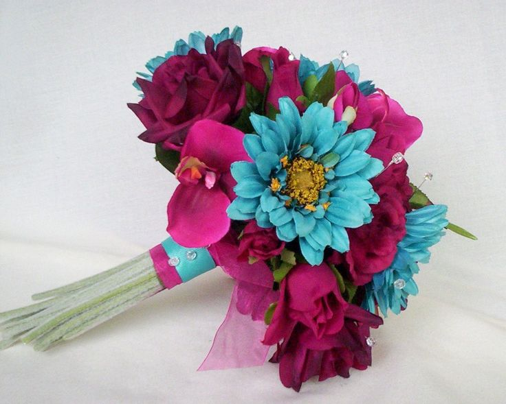 turquoise wedding flower bouquet pictures | Turquoise Fuschia Wedding Flowers Custom Deposit by AmoreBride