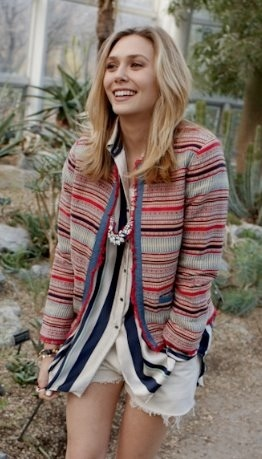 Outtake of Lizzie Olsen's cover shoot for ASOS magazine- in our Striped Ella Shirt.