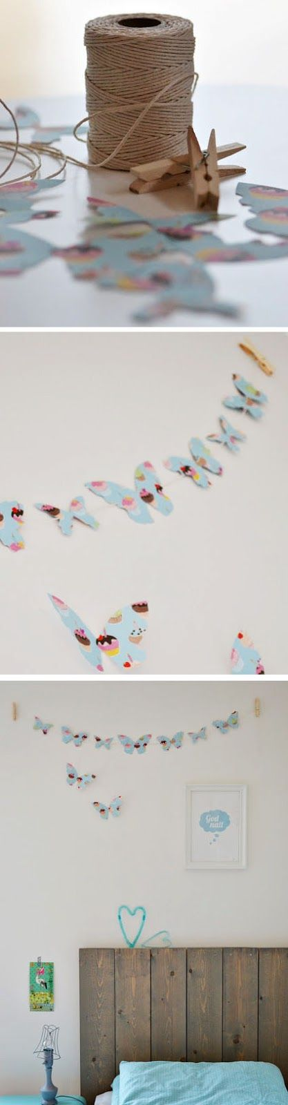 great paper garland - don't have to do butterflies - any shape - dinosours!