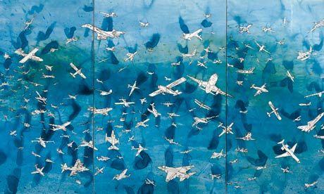 Aerei, 1989 by Alighiero Boetti, 'that glorious plane-crowded sky that looks stitched in silk and not scripted in Biro'.