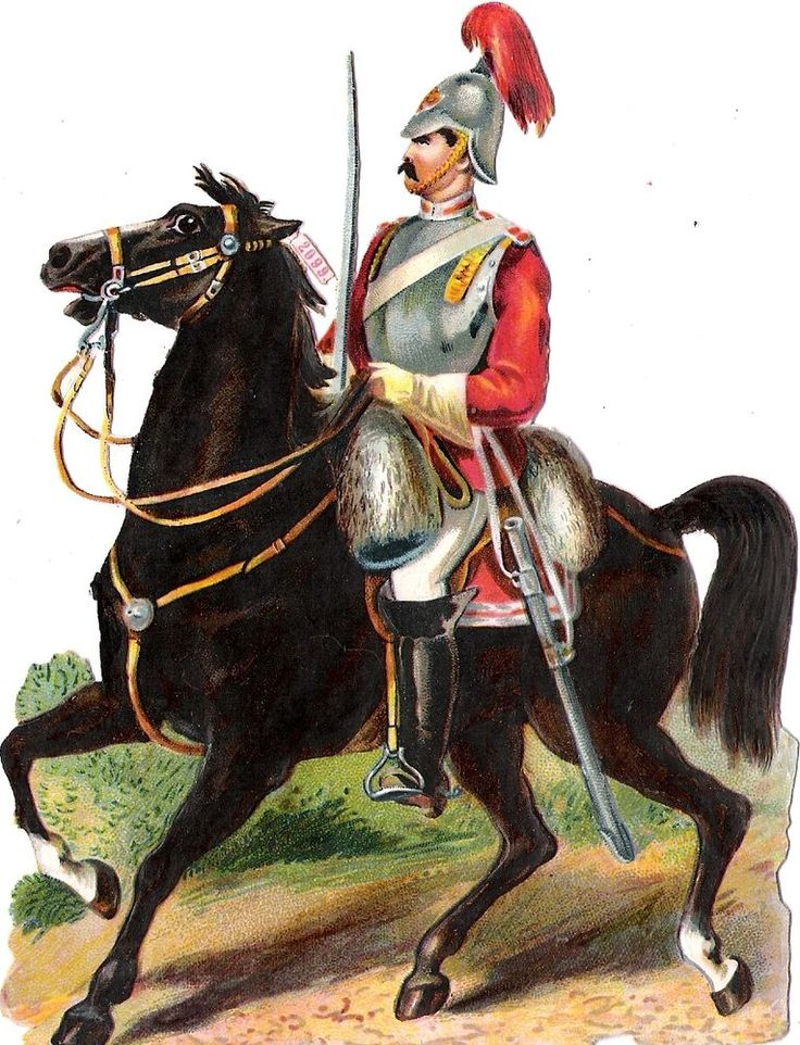 Oblaten Glanzbild scrap die cut chromo Soldat  15cm soldier Pferd horse cheval