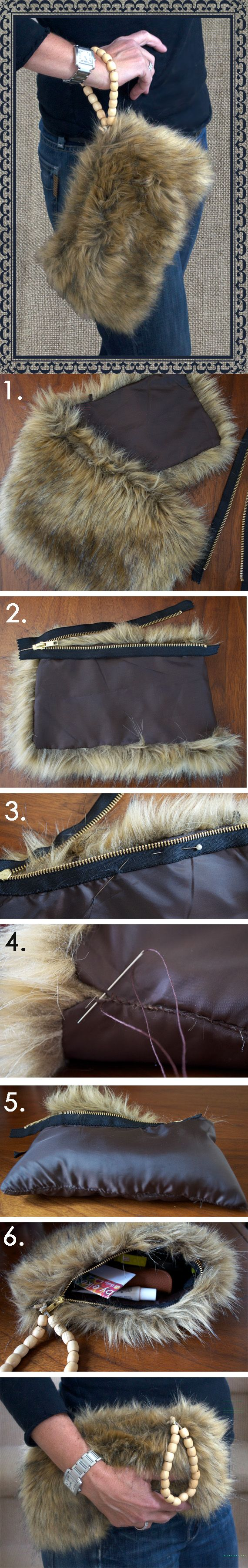 Recycle old faux fur collar into a purse!