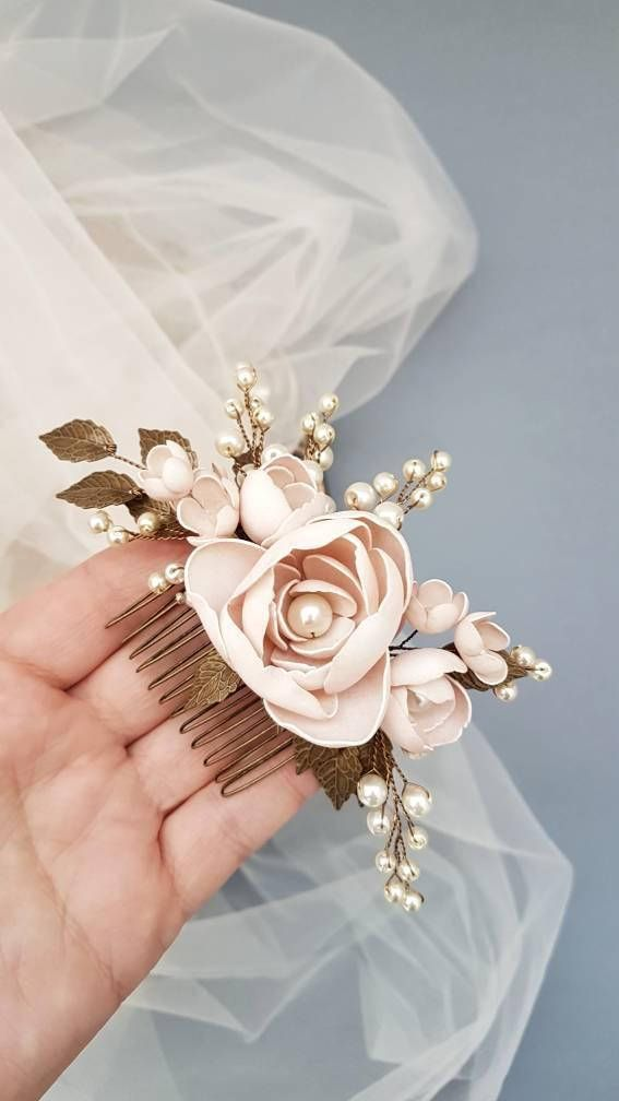 This beautiful handmade bridal hair comb made with handcrafted flowers and ivory glass pearls. Complement most wedding hairstyles. It is the perfect bridal headpiece for that woman who wants to simply sparkle on her wedding day. ♥ Size approx 12 сm x 7 сm (5 x 2.5 ) ♥ Timeless design and