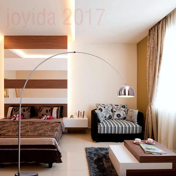New Silver Chrome & Black Marble Base Arco Style Arc Floor Lamp Standard Lamp