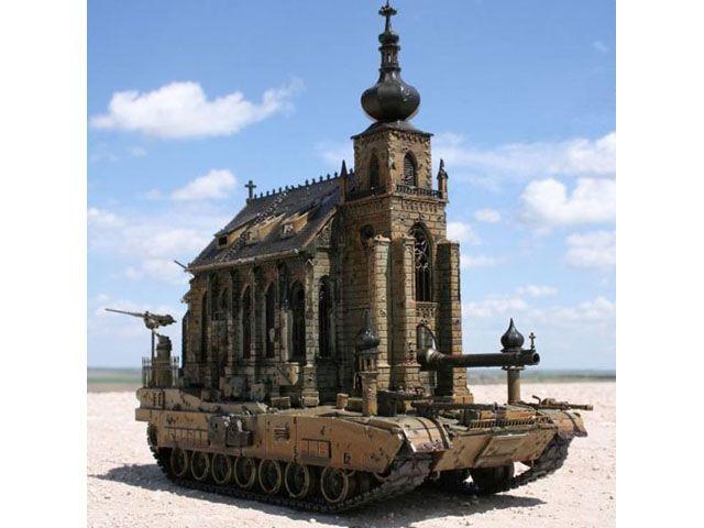 Церковь на танке, США. Необычную церковь возвел американский художник Крис Кукси,