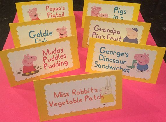 Peppa Pig Food Card Labels Table Tent Cards by OnceUponACrafterxo