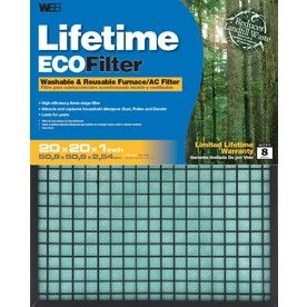 WEB�Washable Electrostatic Air Filter (Common: 20-in x 20-in x 1-in; Actual: 19.625-in x 19.625-in x 1-in)