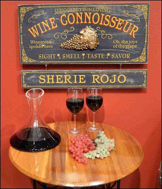 Wine Connoisseur Vintage Plank Nameplate Sign by KandKSales