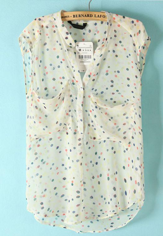 White Sleeveless Polka Dot Pockets Chiffon Blouse - Sheinside.com