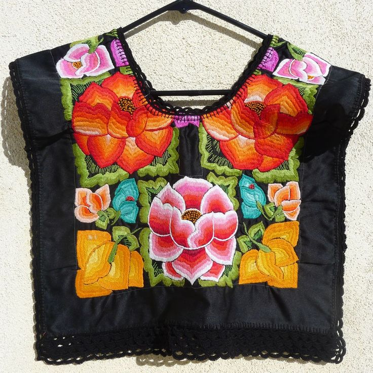 Vintage Mexico Oaxaca Embroidered BlkSatin SMALL Huipil blouse - Frida Kahlo Style. $145.00, via Etsy.