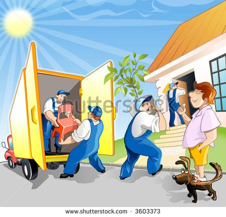 Delivery Team Help the Man Move in New House