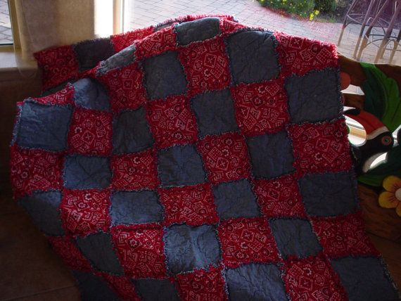 Items similar to Rag Quilt ~ Red Bandana and Denim ~ Cowgirl Up! on Etsy