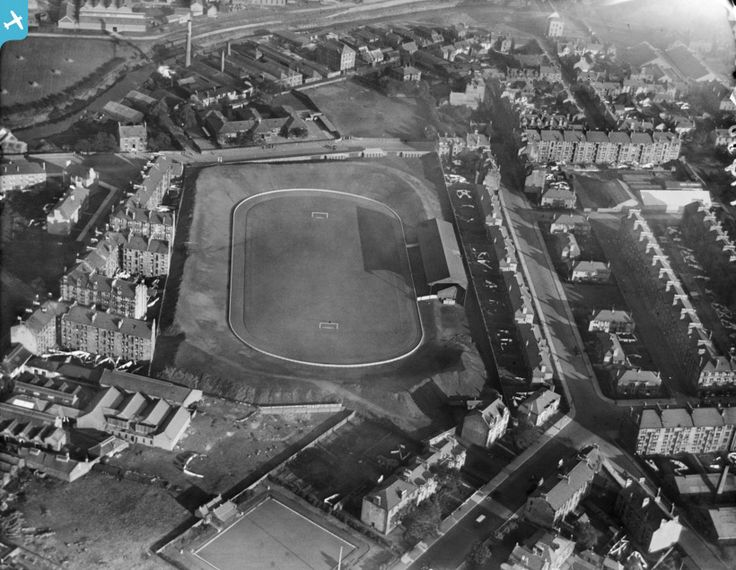 St Mirren Football Stadium, Love Street, Paisley.  Oblique aerial photograph taken facing east.