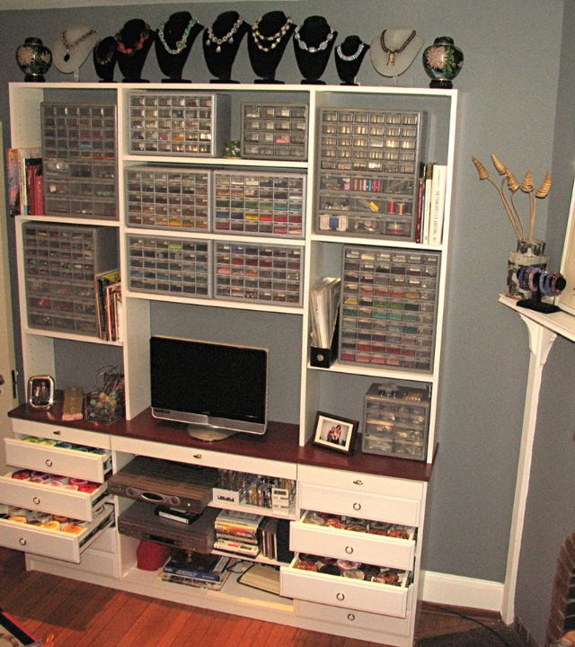 This jewelery crafter found the perfect storage solution from the hardware aisle! Good idea! #CraftRoom