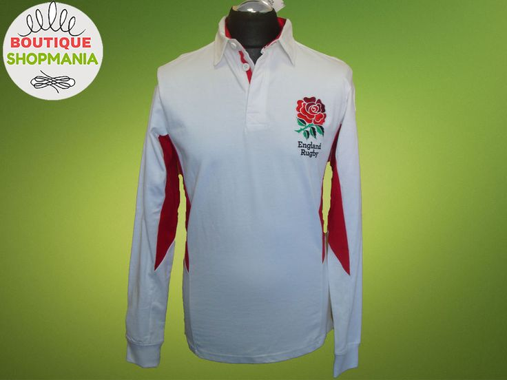 ENGLAND Rugby Official Worn With Pride Long Sleeve RUGBY SHIRT White 100% Cotton #EnglandRugby