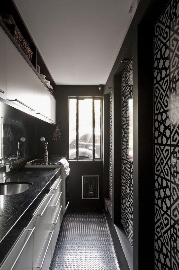♂ Masculine interior design inspiration - Charming Narrow Kitchen Design Ideas with Ethnic Wall Motif