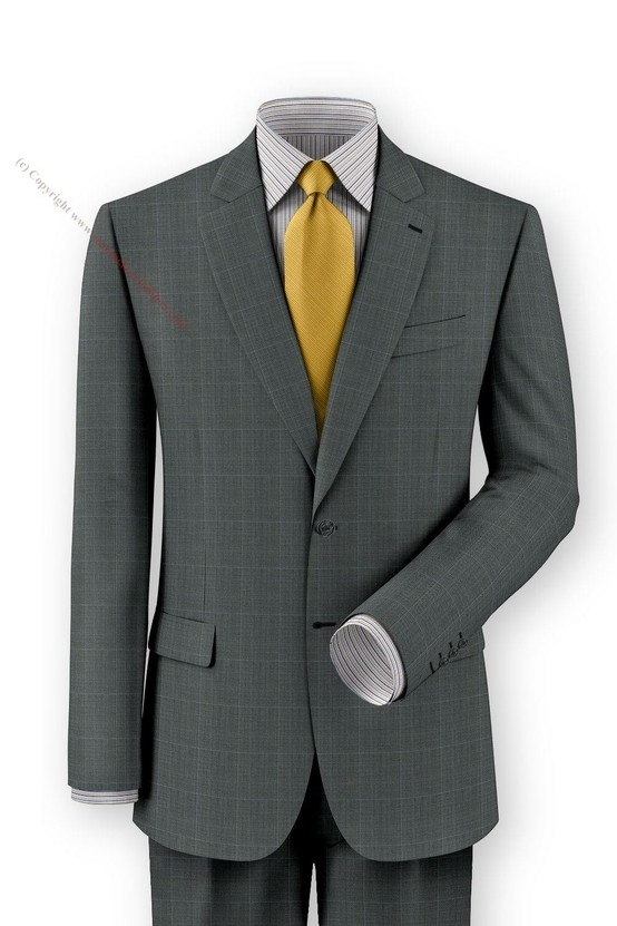 Gray with sky blue windowpane custom made suit shown with blue and yellow multi stripe custom