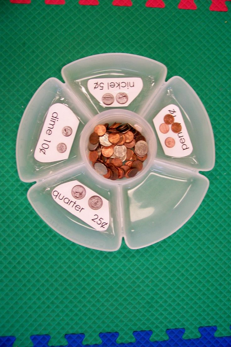 money sort.find the snack divider at dollar store---could use this idea to sort all kinds of things...cereal, buttons, beans!