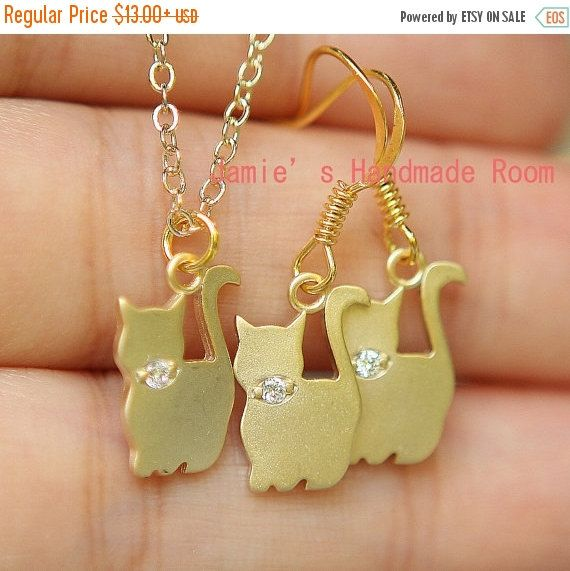 Sweet Cat Family Gold Plated Simple Necklace & by Prettybox4her
