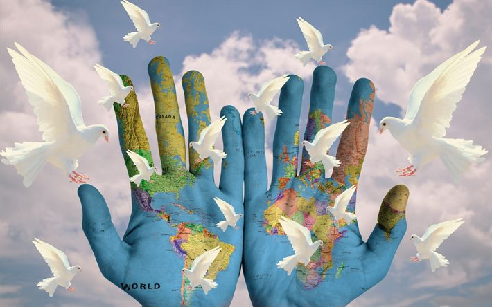 Download wallpapers Earth map on hands, white doves, Save the Earth, ecology concepts, environment, map of the Earth, hands