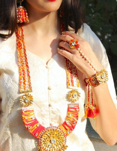 Gota Jewelry, gota patti Jewellery Set, gota patti Jewellery Set, Haldi Jewellery, Mehendi Jewellery, Indian Wedding Jewellery
