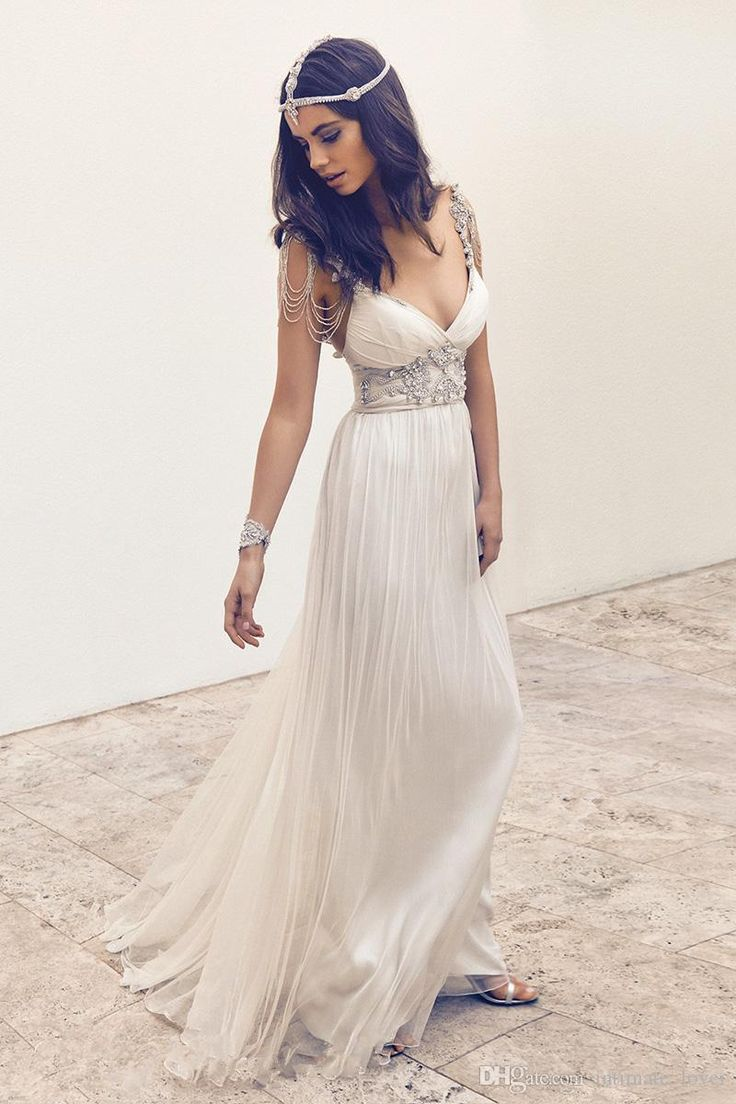 2016 Plunging Neckline Cheap Wedding Dresses Bridal Gowns Chiffon Beads Sleeveless Floor Length A Line