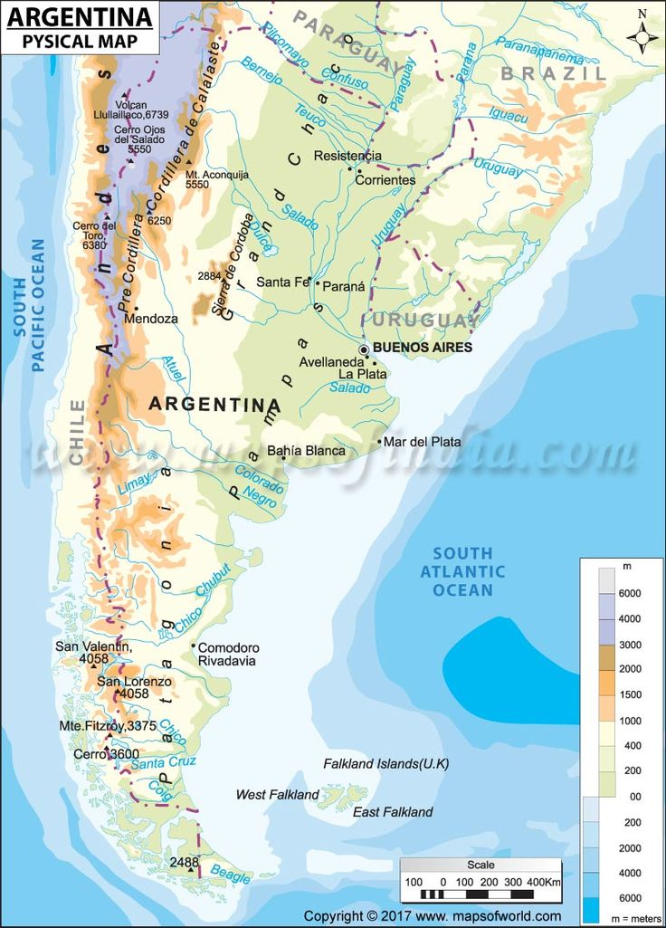 Physical Map Of Argentina Maps Pinterest Argentina Sea - Map 0f argentina