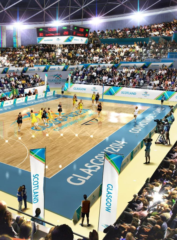 #glasgow2014 #netball CGI images with Glasgow's bid branding for the 2014 Commonwealth Games. www.glasgow2014.com