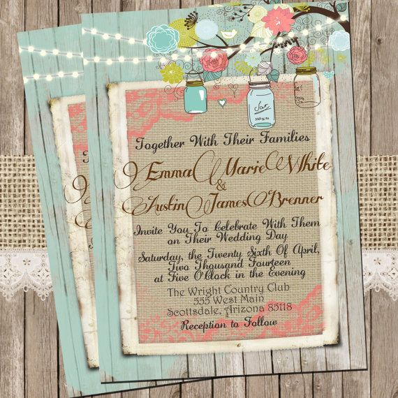 Mint and Coral, Burlap and Lace Wedding Invitation, Rustic, Wood fence,  Printable, Digital File, Personalized, 5x7,