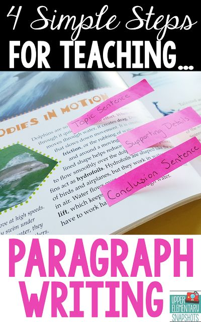 Upper Elementary Snapshots: How to Teach Paragraph Writing: Paragraph Structure