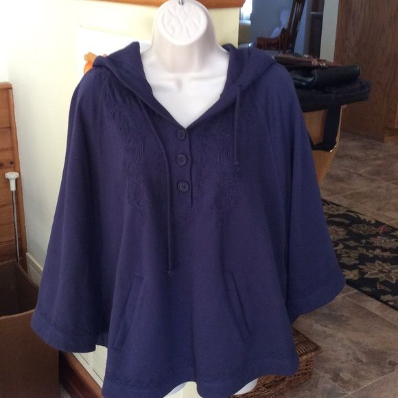 Nine West hooded cape sweatshirt. SNOW SALE Navy blue sweatshirt, hooded, cape sleeves.   Pockets in front.   Navy blue embroidery on bodice and edge of hood.   Very nice!! Nine West Jackets & Coats Capes