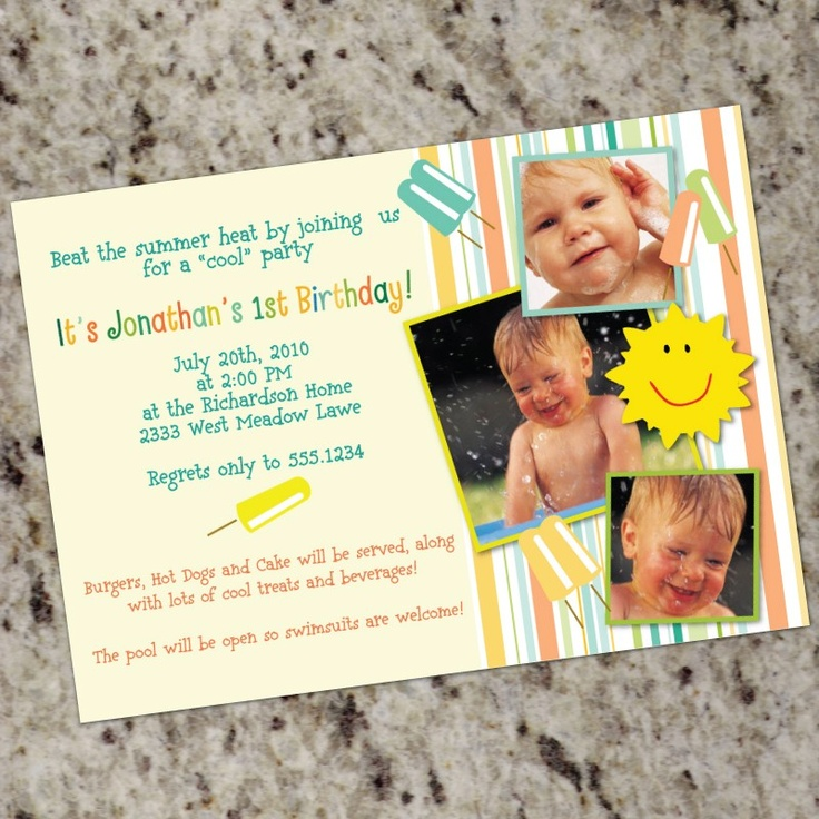 first birthday invitation for my son%0A SUMMER FUN  Cute Photo Birthday Invitations  Boys or Girls