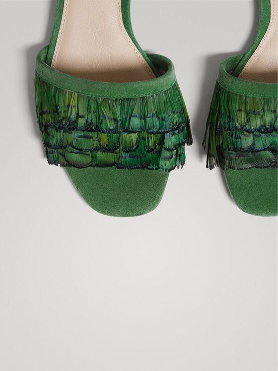 De Sandalias Massimo Pluma Mujer Sandalia Piel Zapatos Verde RLA534j