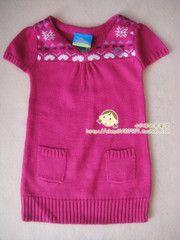 Детская одежда / экспорта немецкие девушки с короткими рукавами свитер платье / V-образным вырезом / вязаный свитер / 74-98 #